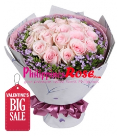 24 Pieces Pink Roses in Bouquet