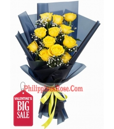 12 Yellow Color Roses in Bouquet