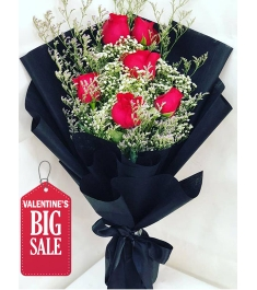 Six Piece Red Roses Bouquet