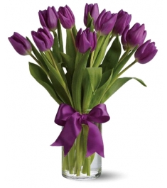 12 Purple Holland Tulip in Vase to Philippines