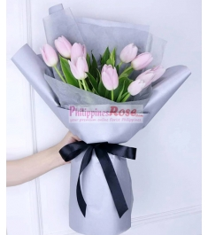 10 Stem ​Pink Tulips in a Bouquet