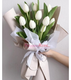 9 Pcs White Color Tulips in a Bouquet
