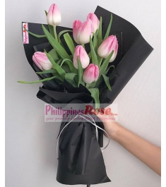 8 Pcs Pink Tulips in a Bouquet