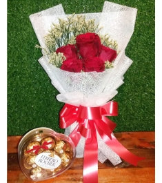 Five Red Roses in a bouquet with Ferrero Rocher Heart Shaped Chocolates Box