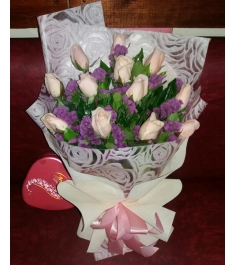 One Dozen Peach Roses with Chocolate