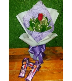 Single Rose Bouquet with Chocolate