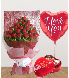 24 Red Roses with Chocolate and Balloon