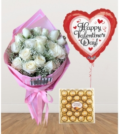 12 White Roses with Chocolate and Balloon