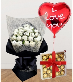 24 White Roses with Chocolate and Balloon