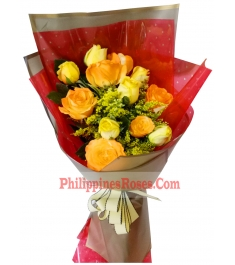buy 6 yellow and 6 orange roses bouquet philippines