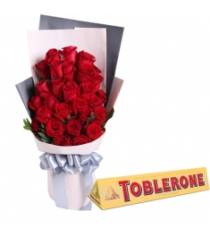 24 Red Roses with Chocolate Bar