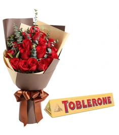 12 Roses with Ferrero Chocolate Box