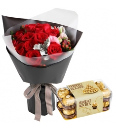 12 Red Rose with Chocolates Box