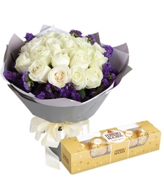 18 Pcs. White Color Roses with Ferrero Box