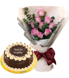 9 Red Roses with Rocky Road Cake By Goldilocks