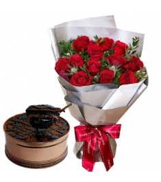 One Dozen Roses with Sampler Can Cake
