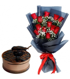 12 Red Roses with Choco Cream Cheese Torte Can Cake