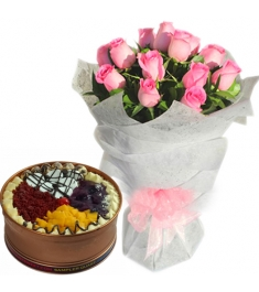 12 Pink Roses with with Sampler Can Cake