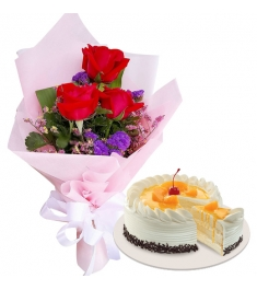 3 pcs Roses with Peach Mango Symphony Cake By Red Ribbon