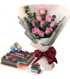 9 Pcs Pink Roses with Rainbow Dedication Cake By Red Ribbon