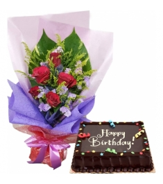 Send Chocolate Dedication Cake By Red Ribbon