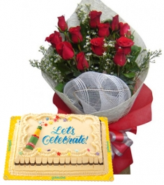 12 Red Roses Bouquet Marble Chiffon Cake By Goldilocks