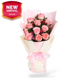 12 Pink Color Roses in Bouquet