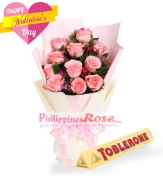 12 Pink  Roses Bouquet with Toblerone Chocolate
