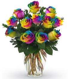 12 Rainbow Roses in Vase to Philippines