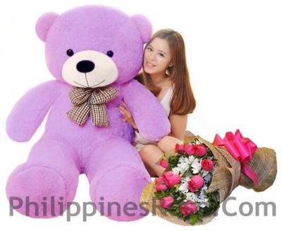 4 feet bear with rose bouquet to philippines