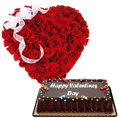 60 Red Roses with Chocolate Cake