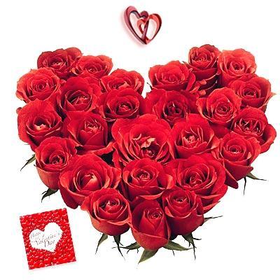 24 Red Roses heart shape Arrangement