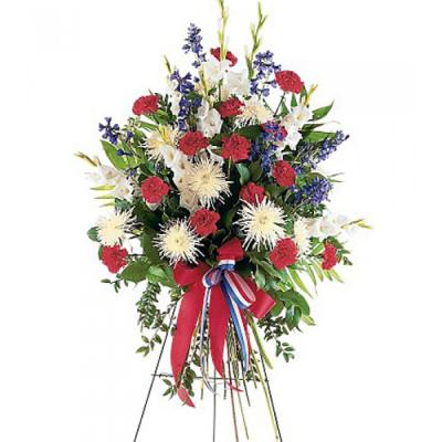 Carnations,Dark Blue Delphinium and White Gladioli   Send to Philippines