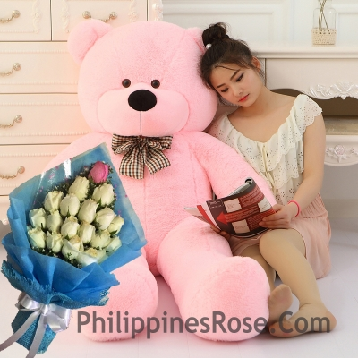 5 feet giant bear with white rose bouquet to philippines