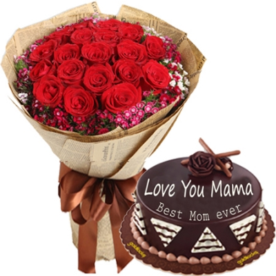 12 red roses with chocolate cake to philippines