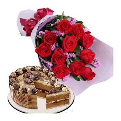 12 Red Roses with Mocha Crumble Cake to Philippines