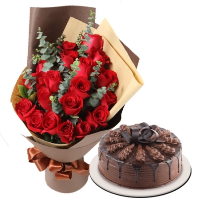 12 red rose with chocolate cake