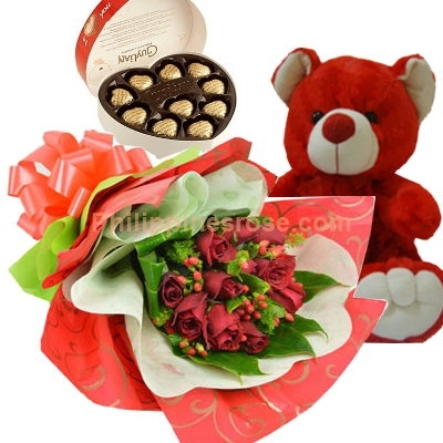 12 roses bouquet chocolate with teddy bear