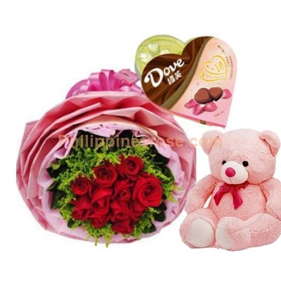 12 Red Roses Bouquet,Chocolate Box with Bear to Philippines