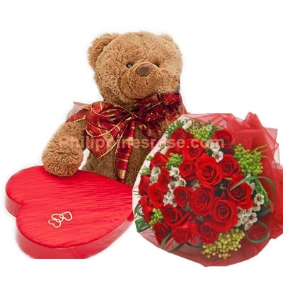 12 Red Roses Bouquet, Chocolate Box with Bear to Philippines