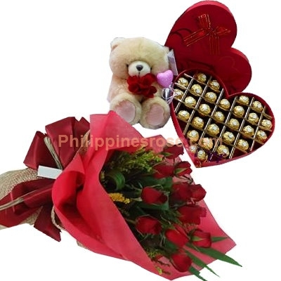 12 red roses bouquet chocolate box bear