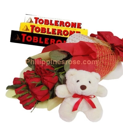 12 Red Roses Bouquet,Toblerone Chocolate w/ Bear Send to Philippines