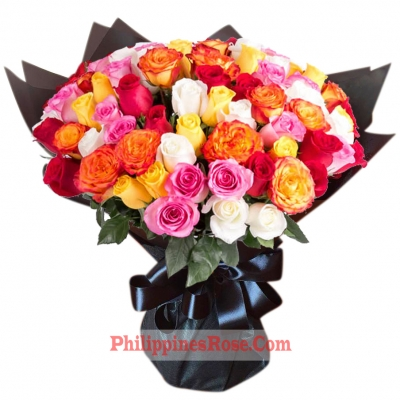 buy 100 mix color roses bouquet philippines