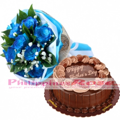 Fathers Day Roses with Double Dutch Cake