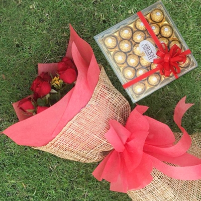 12 Red Roses with Chocolates Box