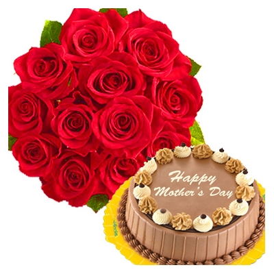 12 Pink Roses with Triple Delight Cake to Philippines