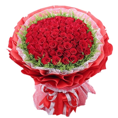 100 Blooms of Red Roses in a Bouquet