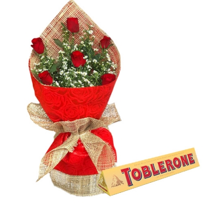 6 Pcs Red Roses with Chocolate