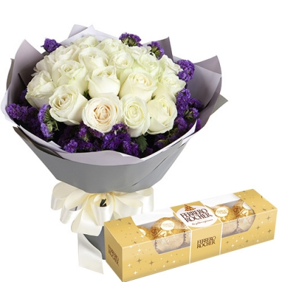 18 Pcs. White Color Roses with Ferrero Box