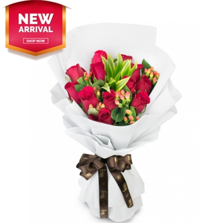 12 Roses with Seasonal Flowers Bouquet